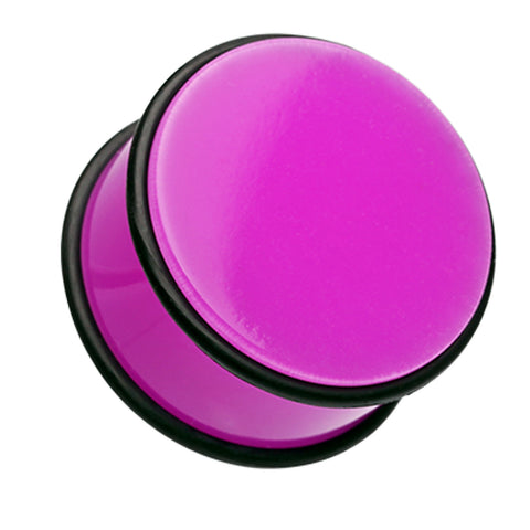 Neon Colored Acrylic No Flare Ear Gauge Plug - 4 GA (5mm) - Purple - Sold as a Pair