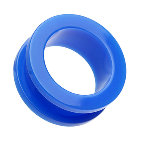 Neon Colored Acrylic Screw-Fit Ear Gauge Tunnel Plug - 2 GA (6.5mm) - Blue - Sold as a Pair