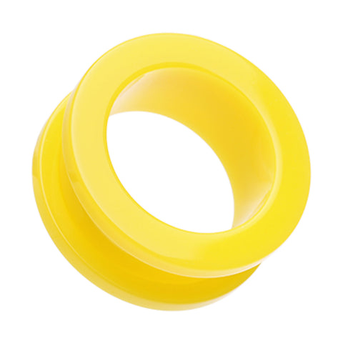"Neon Colored Acrylic Screw-Fit Ear Gauge Tunnel Plug - 1/2"" (12.5mm) - Yellow - Sold as a Pair"