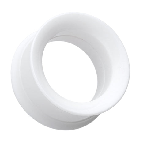 Solid Smooth Flared Screw-Fit Ear Gauge Tunnel Plug - 00 GA (10mm) - White - Sold as a Pair