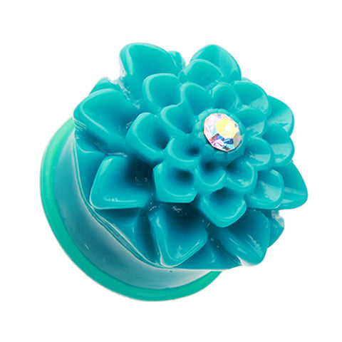 Charming Chrysanthemum Flower Single Flared Ear Gauge Plug - 2 GA (6.5mm) - Teal - Sold as a Pair