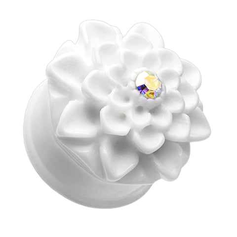 "Charming Chrysanthemum Flower Single Flared Ear Gauge Plug - 1"" (25mm) - White - Sold as a Pair"