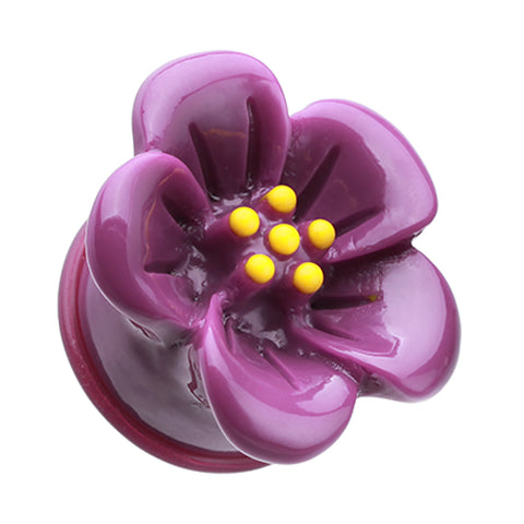 Adorable Hibiscus Flower Single Flared Ear Gauge Plug - 2 GA (6.5mm) - Purple - Sold as a Pair