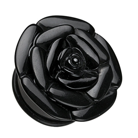 Rose Blossom Flower Single Flared Ear Gauge Plug - 2 GA (6.5mm) - Black - Sold as a Pair