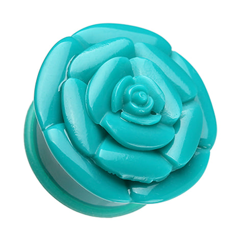 "Rose Blossom Flower Single Flared Ear Gauge Plug - 1/2"" (12.5mm) - Teal - Sold as a Pair"