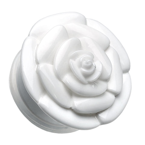 "Rose Blossom Flower Single Flared Ear Gauge Plug - 1/2"" (12.5mm) - White - Sold as a Pair"