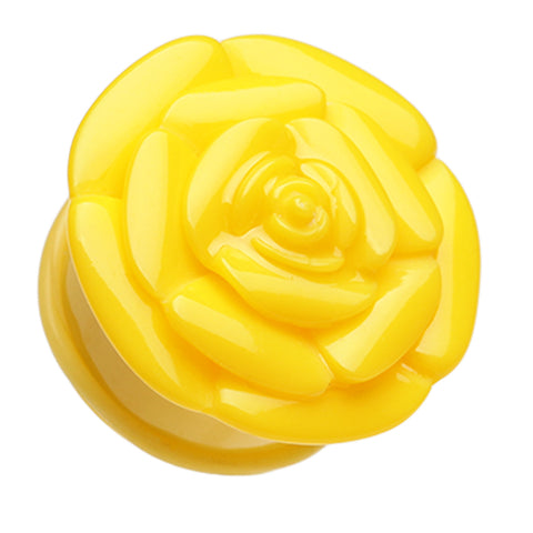"Rose Blossom Flower Single Flared Ear Gauge Plug - 1"" (25mm) - Yellow - Sold as a Pair"