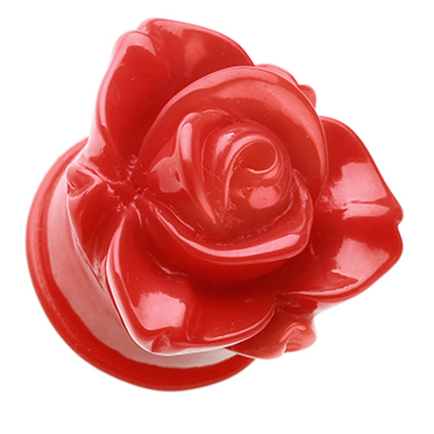 "Wild Rose Flower Blossom Single Flared Ear Gauge Plug - 1"" (25mm) - Red - Sold as a Pair"