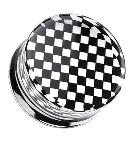Classic Checker Inlay Double Flared Ear Gauge Plug - 2 GA (6.5mm) - Black - Sold as a Pair