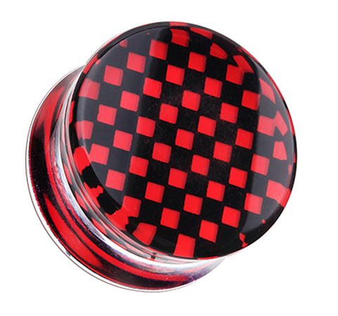 "Classic Checker Inlay Double Flared Ear Gauge Plug - 1/2"" (12.5mm) - Red - Sold as a Pair"