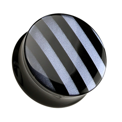 "Marbled Stripe Double Flared Ear Gauge Plug - 3/4"" (19mm) - Black - Sold as a Pair"