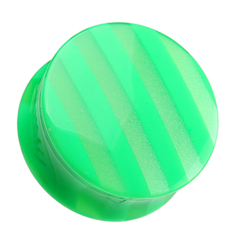 "Marbled Stripe Double Flared Ear Gauge Plug - 7/16"" (11mm) - Green - Sold as a Pair"
