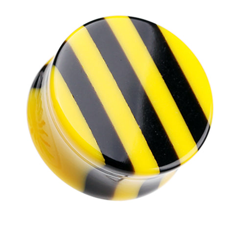 "Brilliant Stripes Double Flared Ear Gauge Plug - 1"" (25mm) - Yellow - Sold as a Pair"
