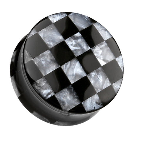 "Marbled Checker Double Flared Ear Gauge Plug - 1"" (25mm) - Black - Sold as a Pair"
