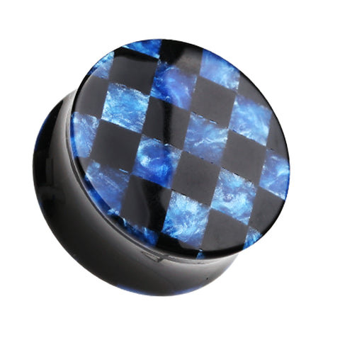"Marbled Checker Double Flared Ear Gauge Plug - 7/8"" (22mm) - Blue - Sold as a Pair"