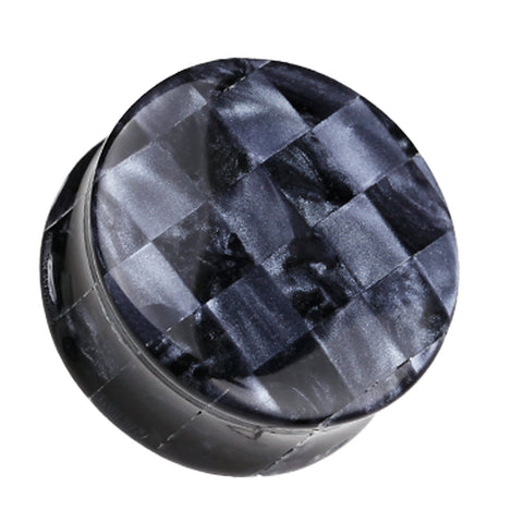 "Marbled Checker Double Flared Ear Gauge Plug - 9/16"" (14mm) - Gray - Sold as a Pair"