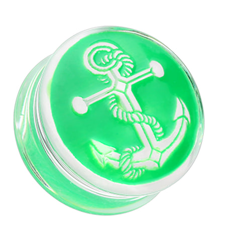 "Anchor Enamel Embossed Double Flared Ear Gauge Plug - 5/8"" (16mm) - Green - Sold as a Pair"
