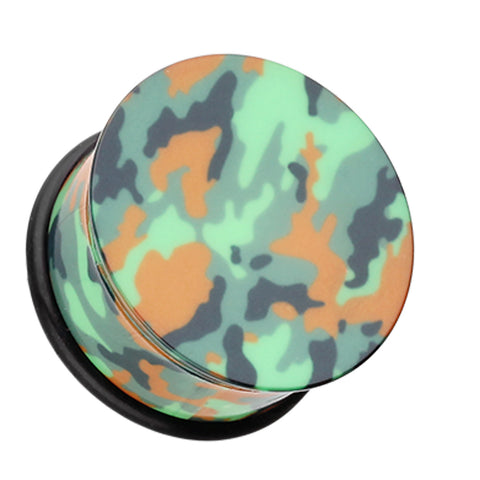 Camouflage Acrylic Single Flared Ear Gauge Plug - 00 GA (10mm) - Green - Sold as a Pair