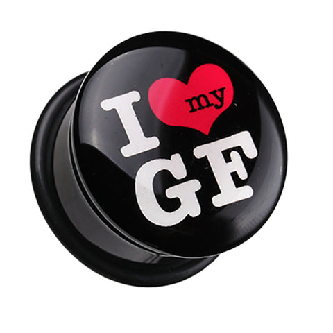'I Heart my GF' Single Flared Ear Gauge Plug - 2 GA (6.5mm)  - Sold as a Pair