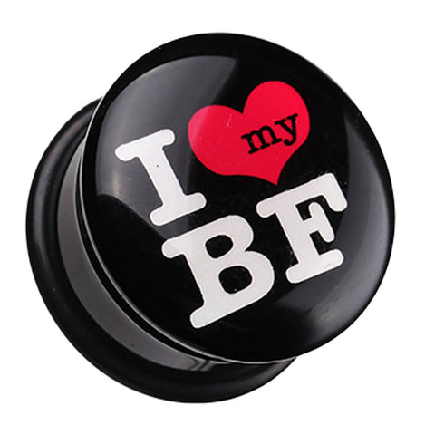 "'I Heart my BF' Single Flared Ear Gauge Plug - 7/16"" (11mm)  - Sold as a Pair"