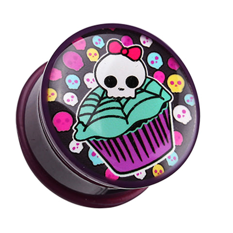"Skullicious Cupcake Single Flared Ear Gauge Plug - 1"" (25mm)  - Sold as a Pair"