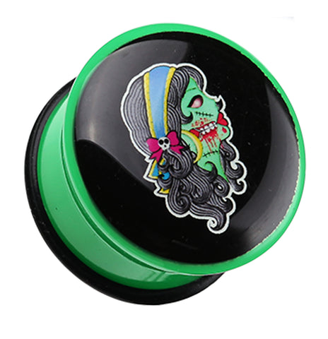 "Day of the Dead Zombie Girl Single Flared Ear Gauge Plug - 5/8"" (16mm)  - Sold as a Pair"
