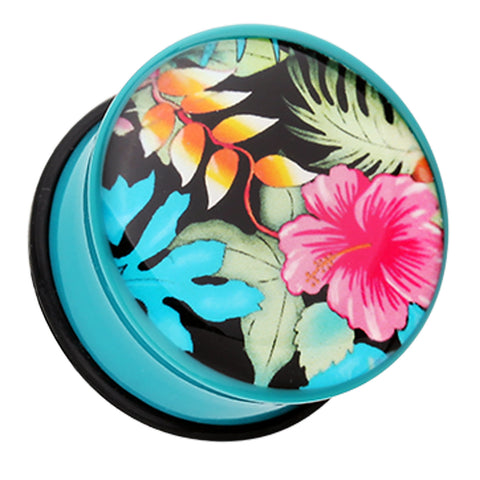 "Hawaii Luau Flower Single Flared Ear Gauge Plug - 1"" (25mm)  - Sold as a Pair"