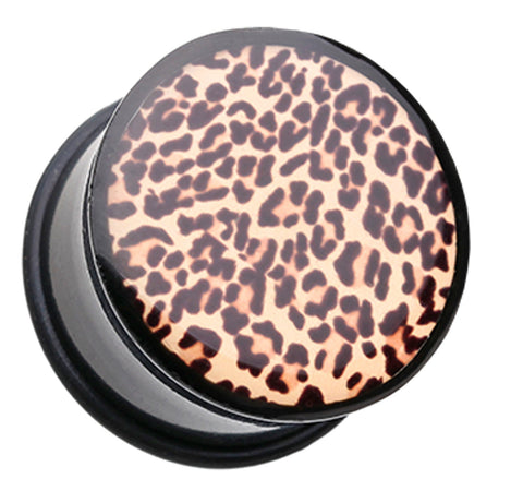 "African Leopard Print Single Flared Ear Gauge Plug - 1"" (25mm)  - Sold as a Pair"