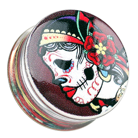 "Gypsy Sugar Skull Clear UV UV Double Flared Ear Gauge Plug - 7/8"" (22mm)  - Sold as a Pair"