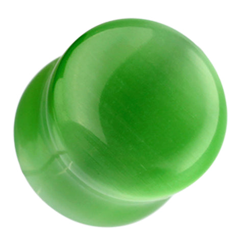 "Cat Eye Marbled Double Flared Ear Gauge Plug - 7/16"" (11mm) - Green - Sold as a Pair"