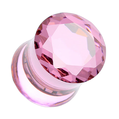 Faceted Crystalline Glass-Gem Double Flared Ear Gauge Plug - 2 GA (6.5mm) - Pink - Sold as a Pair