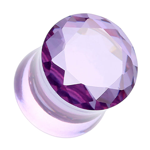 Faceted Crystalline Glass-Gem Double Flared Ear Gauge Plug - 4 GA (5mm) - Purple - Sold as a Pair