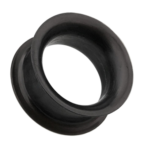 Ultra Thin Flexible Silicone Ear Skin Double Flared Tunnel Plug - 00 GA (10mm) - Black - Sold as a Pair