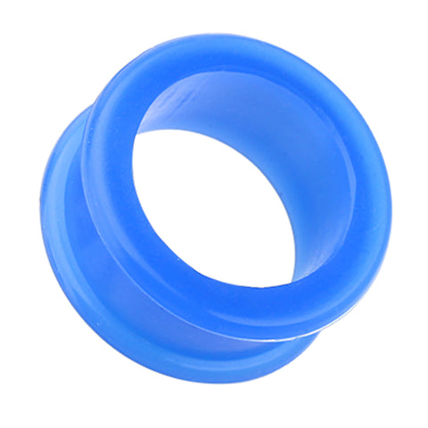 Flexible Silicone Double Flared Ear Gauge Tunnel Plug - 8 GA (3.2mm) - Blue - Sold as a Pair