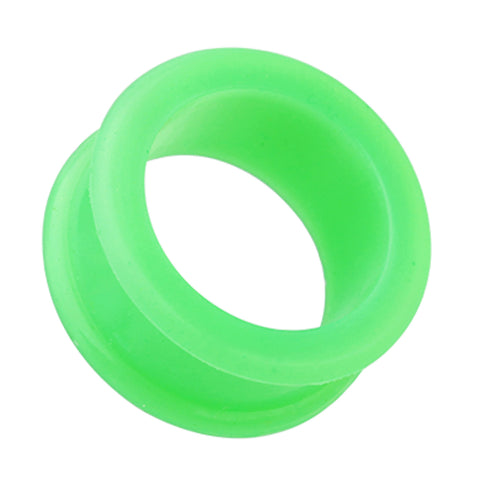 "Flexible Silicone Double Flared Ear Gauge Tunnel Plug - 3/4"" (19mm) - Green - Sold as a Pair"