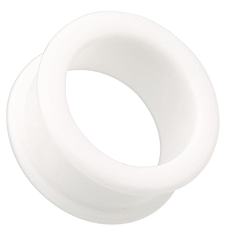 Flexible Silicone Double Flared Ear Gauge Tunnel Plug - 4 GA (5mm) - White - Sold as a Pair