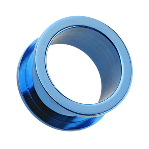 "Colorline 316L Surgical Steel Screw-Fit Ear Gauge Tunnel Plug - 7/16"" (11mm) - Blue - Sold as a Pair"