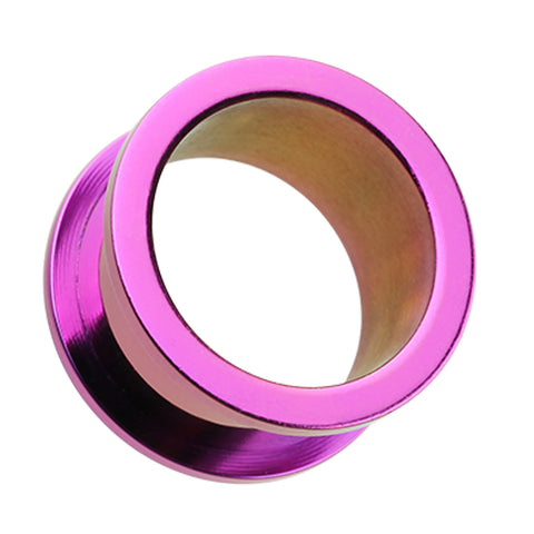 Colorline 316L Surgical Steel Screw-Fit Ear Gauge Tunnel Plug - 10 GA (2.4mm) - Purple - Sold as a Pair