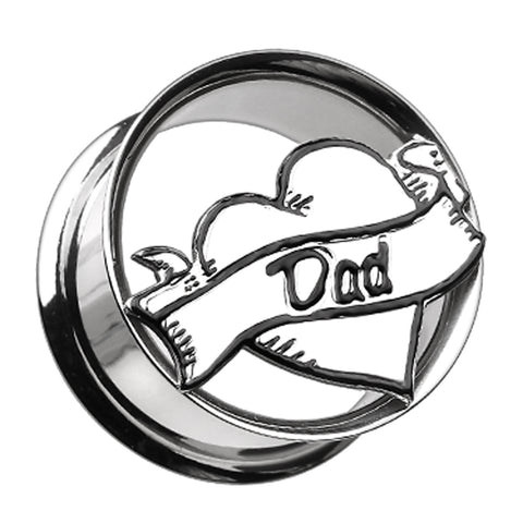 "'I Heart Dad' Hollow 316L Surgical Steel Double Flared Ear Gauge Plug - 1"" (25mm)  - Sold as a Pair"