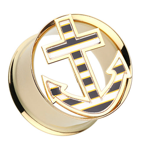 "Golden Colored Nautical Stripe Anchor Double Flared Ear Gauge Plug - 9/16"" (14mm)  - Sold as a Pair"