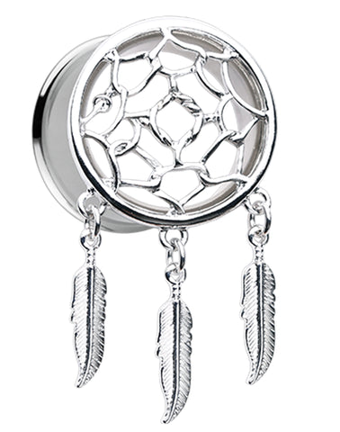 Classic Dreamcatcher Feather Dangle Ear Gauge Plug - 2 GA (6.5mm)  - Sold as a Pair