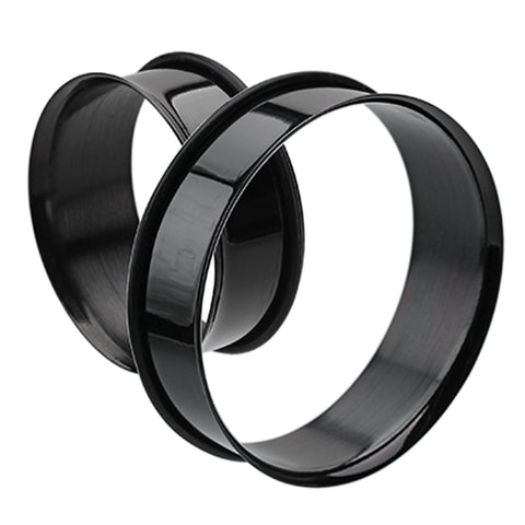 "Supersize Colorline 316L Surgical Steel Single Flared Ear Gauge Tunnel Plug - 1-1/4"" (32mm) - Black - Sold as a Pair"