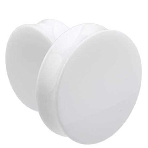"Supersize Acrylic Double Flared Ear Gauge Plug - 1-1/8"" (29mm) - White - Sold as a Pair"