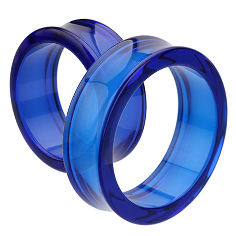 "Supersize Acrylic Double Flared Ear Gauge Tunnel Plug - 1-3/4"" (44mm) - Blue - Sold as a Pair"
