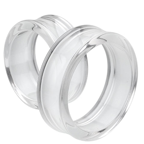 "Supersize Acrylic Double Flared Ear Gauge Tunnel Plug - 1-1/2"" (38mm) - Clear - Sold as a Pair"