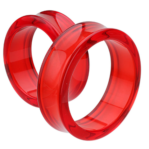"Supersize Acrylic Double Flared Ear Gauge Tunnel Plug - 1-5/8"" (41mm) - Red - Sold as a Pair"