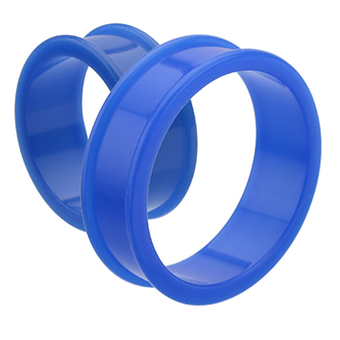 "Supersize Flexible Silicone Double Flared Ear Gauge Tunnel Plug - 2"" (51mm) - Blue - Sold as a Pair"