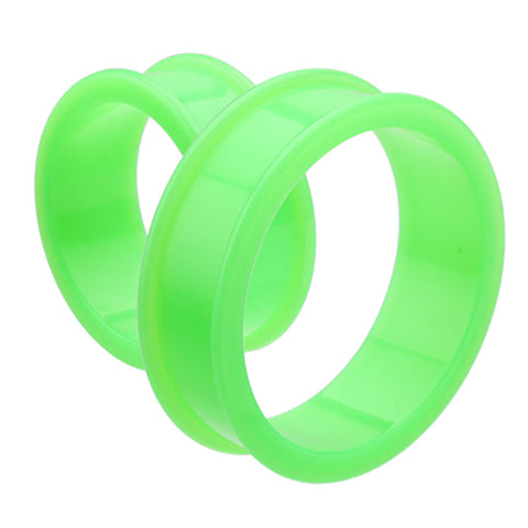 "Supersize Flexible Silicone Double Flared Ear Gauge Tunnel Plug - 1-1/4"" (32mm) - Green - Sold as a Pair"