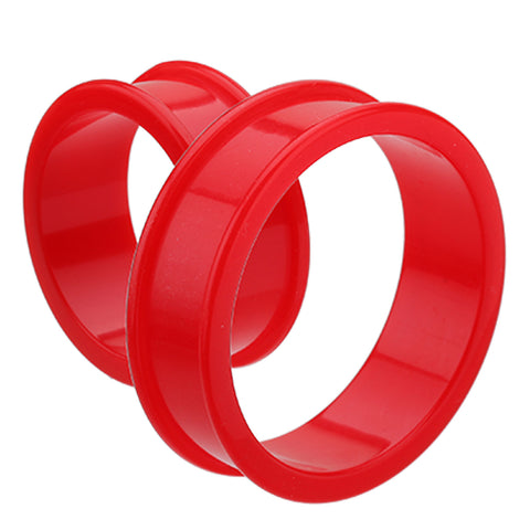 "Supersize Flexible Silicone Double Flared Ear Gauge Tunnel Plug - 1-3/8"" (35mm) - Red - Sold as a Pair"