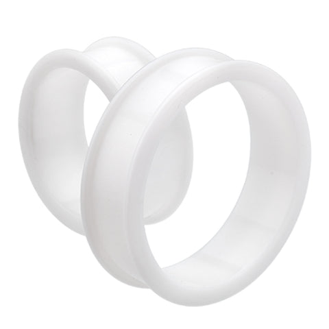 "Supersize Flexible Silicone Double Flared Ear Gauge Tunnel Plug - 1-1/4"" (32mm) - White - Sold as a Pair"